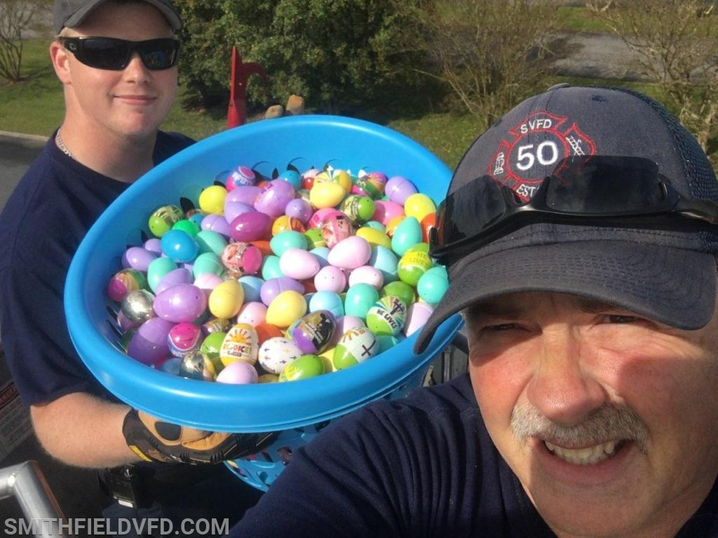 FF Ryan Smith & FF Dave Zitzelberger about to drop the Easter eggs!