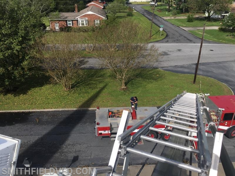 Tower Ladder 51 Setting Up for the Smithfield Baptist Church 2019 Easter Egg Drop